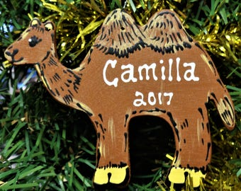 CAMEL ORNAMENT U Choose Name & Date Personalized Christmas Holiday Name Kids Handcrafted Handpainted Wood