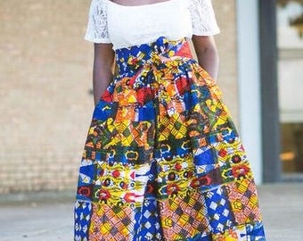 Patchwork Midi Skirt; African Clothing; African Skirt; the africanshop; ankara