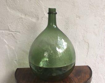 Demijohn bottle green vintage glass hand blown vase