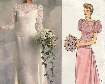 Eclipse SALE 1980s Vogue 1829 Bridal Original Wedding Dress Sewing  Pattern Bateau Neck Long or Puff Sleeves Size 8 Bust 31.5 UNCUT