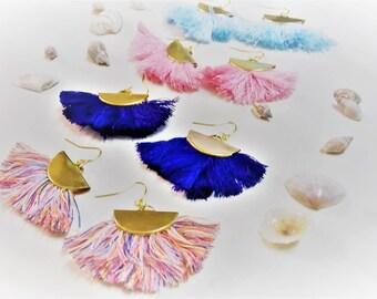 Crescent Tassel Fan Earrings, Semicircle Raw Brass Earrings, Half Circle Earrings, Half Moon Capri Fringe Earrings, Fringe Festival Earrings