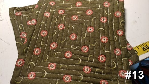 CHARITY (Green with pink flowers HOT PAD set of 2 #13)
