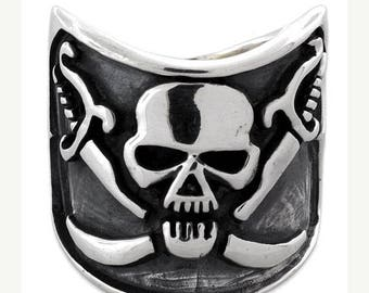 Anniversary SALE Sterling Silver 925 Pirate Skull Biker Ring Made in USA