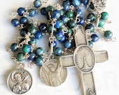 Rosary - Azurite Eilat Eucharist Rosary with Apostles/Brothers Peter & Andrew - Sterling Silver