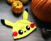 Pokemon Pikachu inspired cute yellow fleece cosplay beanie hat, cool gift for gamer, nerd, geek, anime, manga or pokemonGo fan