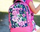 Monogrammed Backpack - Toddler Backpack - Back to School - Preschool Backpack - Floral Backpack - Girls Lunchbox - Kids Backpack