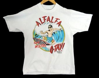 VTG 80s Alfalfa Say Waves Otay! Surfer T-Shirt - Small - Our Gang - The Little Rascals - TV Show Shirt - Vintage Tee - Vintage Clothing -