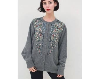 Vintage - 80's - Retro - Grey - Lambswool - Intricate - Floral - EMBROIDERED - Knit - Cardigan - Jacket - AUS 14 16 - L XL
