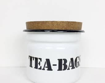 Vintage tea container, white enamel tea bag container, 1970s storage jar with cork lid and retro stencil font