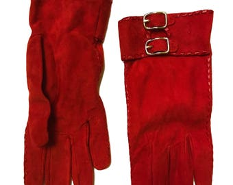 Coach Cherry Red Buckle Suede Silk Driving Gloves - Size 7.5