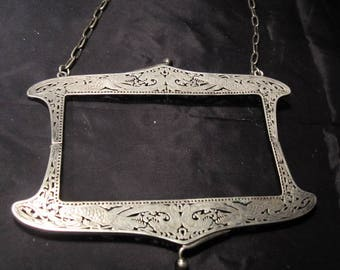 Antique art nouveau, Victorian silver plated purse bag frame with dragons, ca 1900