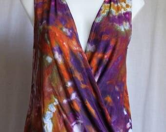 Tie dye tunic crossover sleeveless wrap top ice dyed boho chic indie festival fashion Size Medium - Dark Jewels crinkle