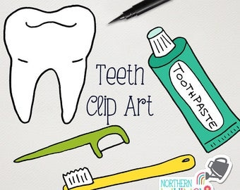 Dentist Clip Art - Teeth, toothbrushes, tooth floss, and toothpaste illustrations in pink, aqua blue, lime green & yellow - commercial use