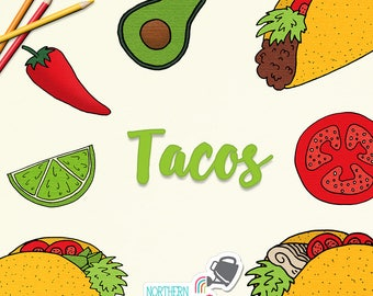 Taco Clip Art - taco, avocado, lime, tomato, and jalapeno pepper food illustrations for commercial use