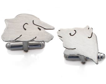 Bull and Bear Cufflinks made from sterling silver. City Cufflinks. Trader Cufflinks. Handmade cufflinks made in the UK.
