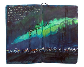 "Fine Art Print of Iceland Landscape Painting from Artist Sketchbook- ""Construction Site Northern Lights"""