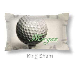 Golf Pillow Sham-Personalized Bedding-Name on Golf Ball-Sports Pillow Sham-Standard/King Pillow Sham-Golf Bedding-Girl Room-Dorm Decor