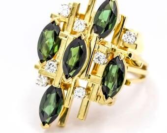 Henry Dunay Chrome Tourmaline and Diamond Ring in 18k Yellow Gold