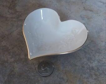 Heart Ring Dish, Lenox Trinket Dish, Wedding Ring Dish, Cream Ring Bowl, Vintage Lenox, Wedding Accent, Fancy Ring Dish, Rose Ring Dish