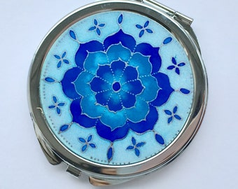 Blue Flower Compact Mirror - makeup mirror, Mother's Day gift