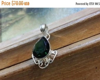 Holiday SALE 85 % OFF Green Quartz Pendant Gemstones  . 925 Sterling Silver