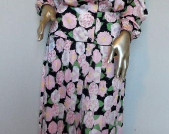 55% OFF Vintage 1980's Silk Floral Dress* Size 8 . MAGGY LONDON . Pink Watercolor Flowers . Front Buttoned . Pleated Skirt . Wedding . Party