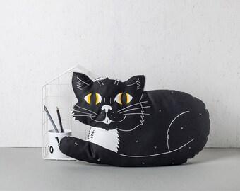 Black Cat Pillow, Large throw Cushion, Nursery Pillow, New home gift, Plush Animal Pillow, Monochrome kids bedroom Decor
