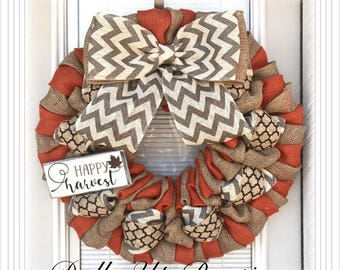Happy Harvest Burlap Wreath -  Orange,  Natural, Gray Chevron Burlap Wreath, Chevron Wreath, Fall Wreath Decor , Fall Decor, Everyday Wreath