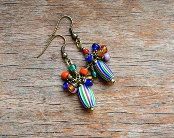 Rainbow melon trade bead earrings