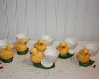 6 Chick Egg Cups, Ceramic Egg Cup Holders, Chicks and Eggshell, Frutuoso and Frutuoso, Portugal Ceramic Egg Holders, Easter Egg Cup Holders