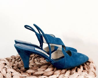 VINTAGE• 1990s Evan Picone Cobalt Blue  Strappy Suede Heels• Super soft suede