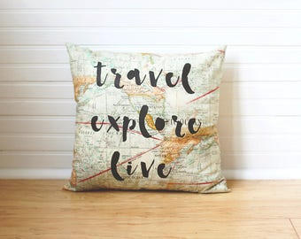 Quote Pillow Travel Decor Travel Explore Live World Map Pillow Gift for Traveler Map Cushion Travel Pillow Travel Quote Map Throw Pillow