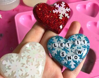 Heart Pendant Necklace Snowflake Necklace Glitter Necklace Resin Necklace Let It Snow