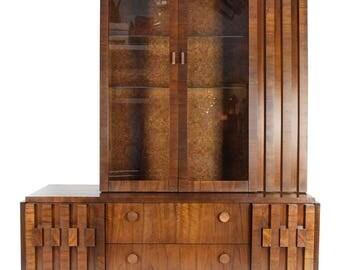 Lane Brutalist Mosaic Walnut Cabinet Hutch Mid Century Modern