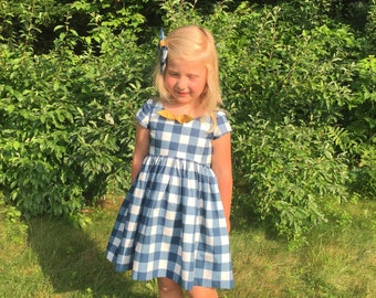 Navy plaid school dress / girls first day of school outfit / navy dress /  toddler fall navy dress / thanksgiving baby girl outfit / gift
