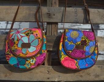 Multifloral Saddle Bag GBP7/Saddle Bag/Gift for Her/Embroidery/Leather Bag/Purse/Cute Bag/Floral Bag