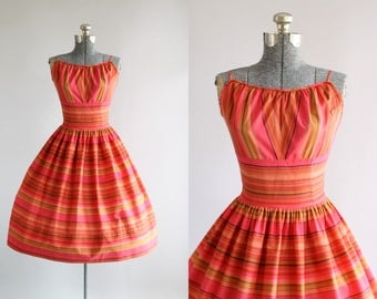 Vintage 1950s Dress / 50s Cotton Dress / Pink and Green Striped Sun Dress w/ Shelf Bust S/M