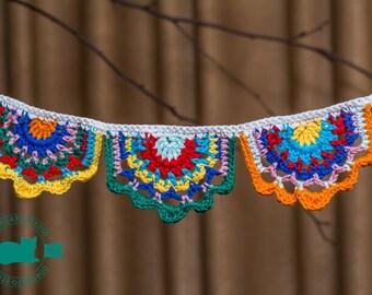 Crochet garland, crochet banner, Gypsy Crochet Banner, crochet bunting, nursery decor, party decoration, Baby Shower, hygge bunting
