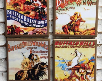 COASTERS! Retro Buffalo Bill movie poster coasters with gold trim