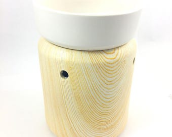 Ceramic Birch Wood - Classic Wax Melter - illuminated Wax Lamp - Valentines Day Gift