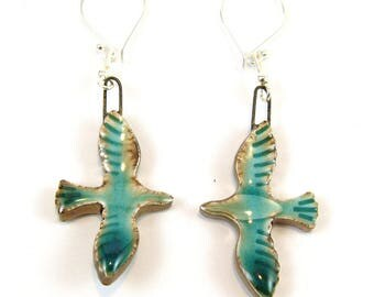 Turquoise/Blue Flying Bird Ceramic Sterling Silver Earrings