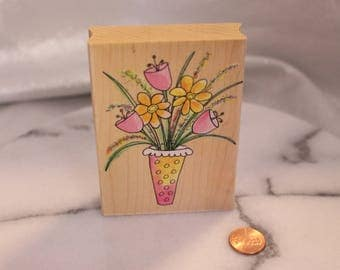 Polka Dot Vase Bouquet Rubber Stamp by Hero Arts Scrapbook STamp Altered art