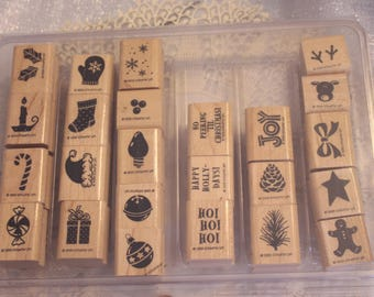 Stampin Up Holiday Sampler set of 24  stamps for Scrapbooking or Card Making Words and picture stamps