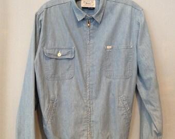 1980s Polo Ralph Lauren Chambray Denim Wind Breaker Jacket