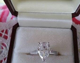 Vintage 1.67 Carat Pear Shaped Diamond Ring