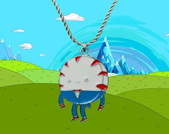Adventure Time sterling silver / faux leather necklace with Peppermint Butler charm