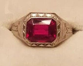 Art Deco 14K Solid White Gold Ruby Ring~ Very Nice!~Size 10 For Man or Woman