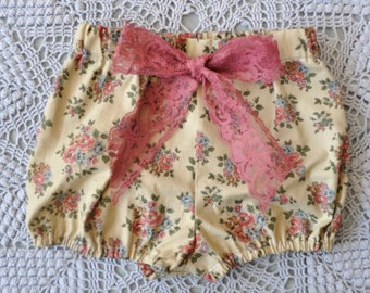 Floral Bloomers with Mauve Lace Bow
