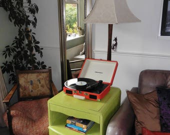 Lord Wilbur record player and vinyl cabinet distressed in lime hues