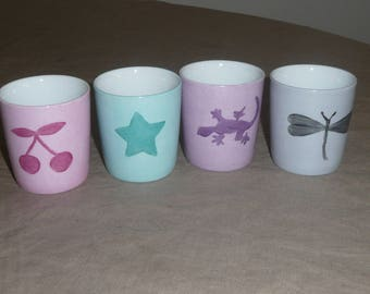 Coffee cups for espresso with tone on tone pattern